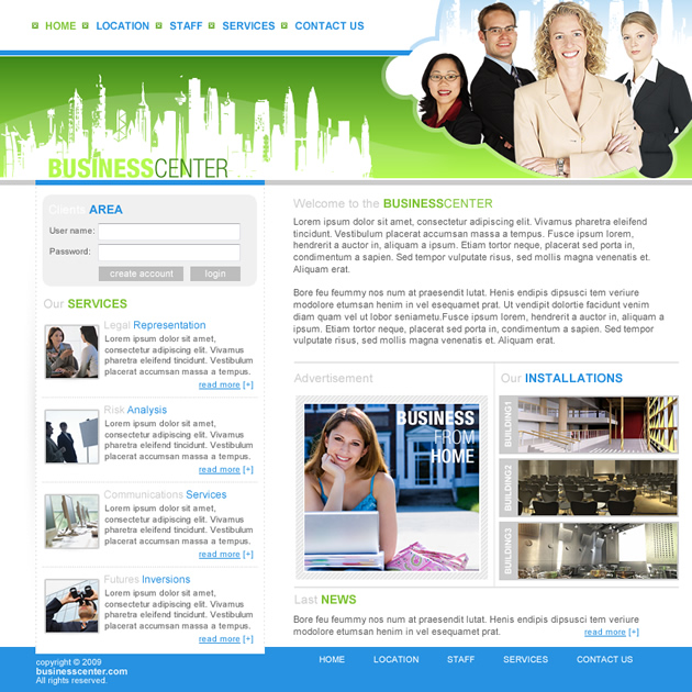 Business Center Dreamweaver Template