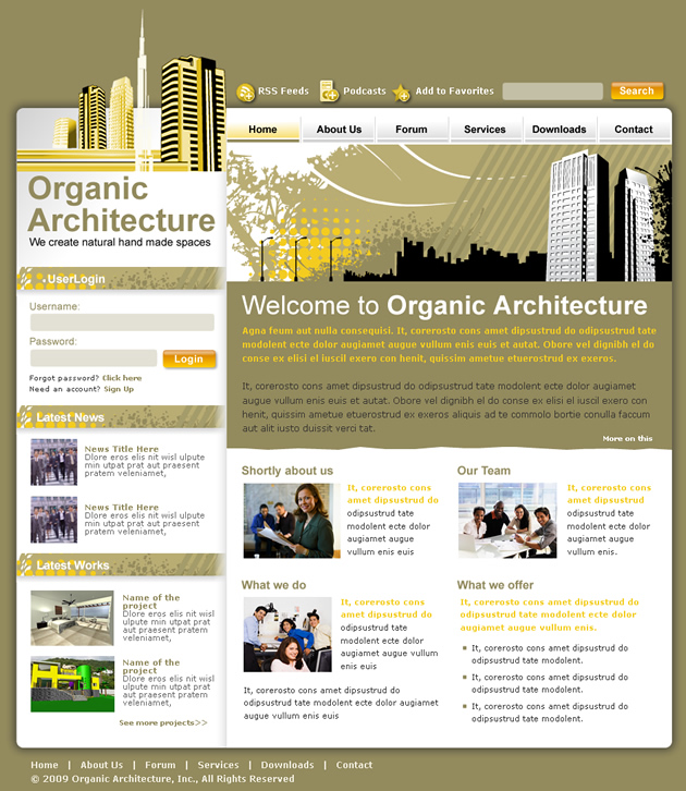 architecture Dreamweaver Template