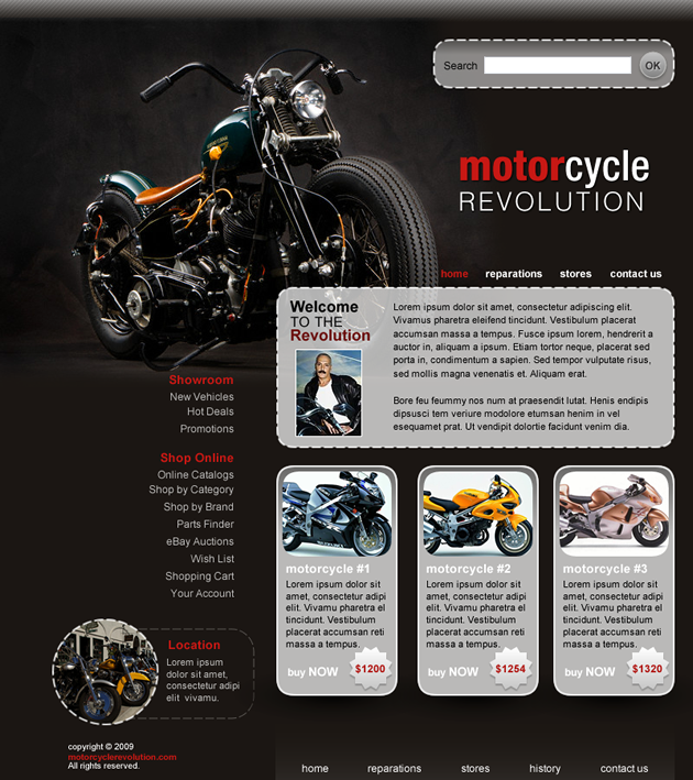 Plantilla dreamweaver motocicletas for Dreamweaver layout templates