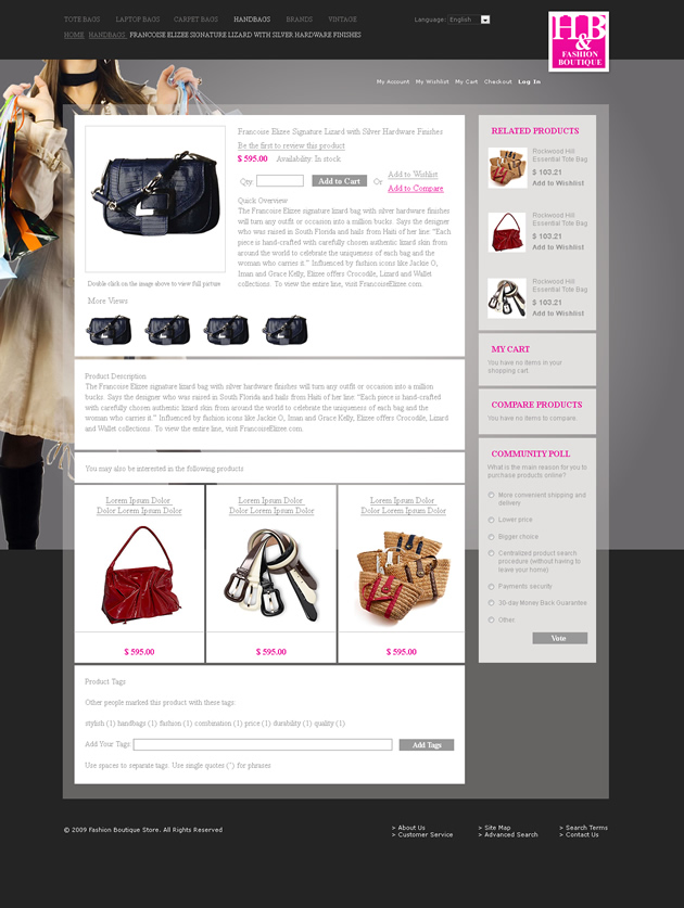 Fashion Shop sub-page