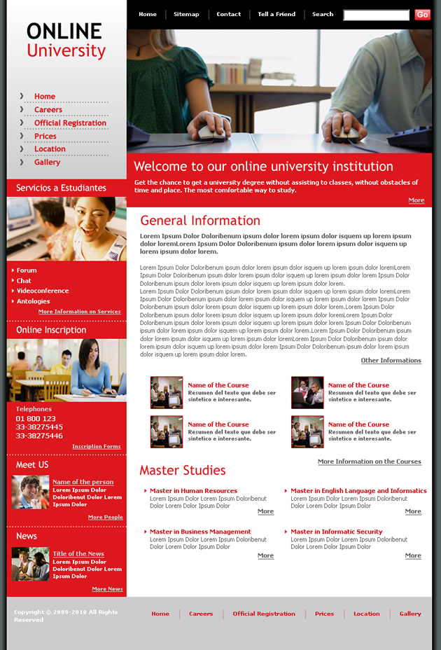university Dreamweaver Template