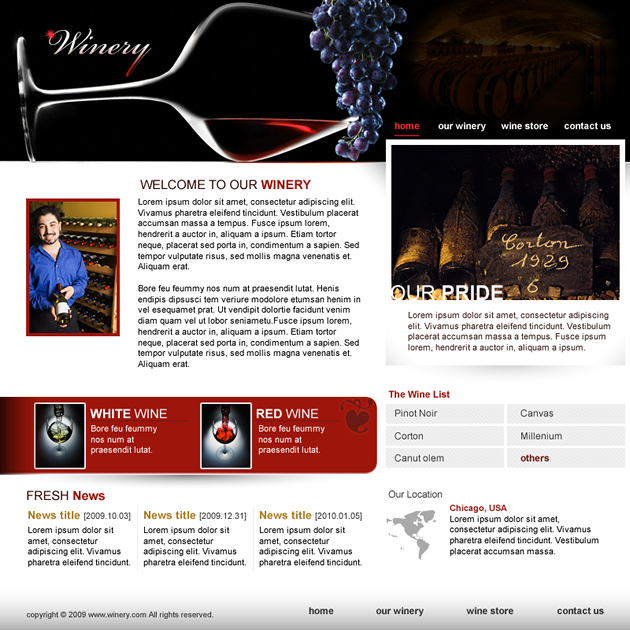 Winery Dreamweaver Template